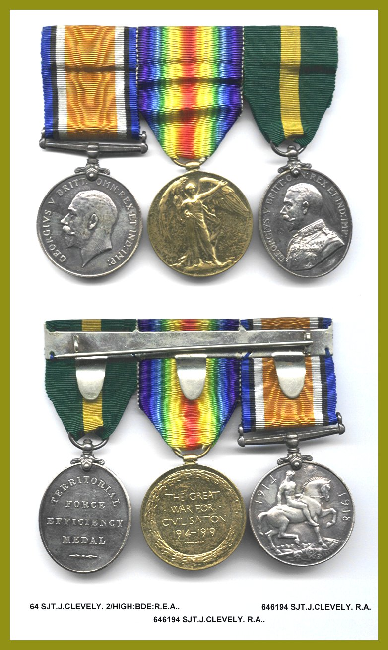 World War One medals, on clasp